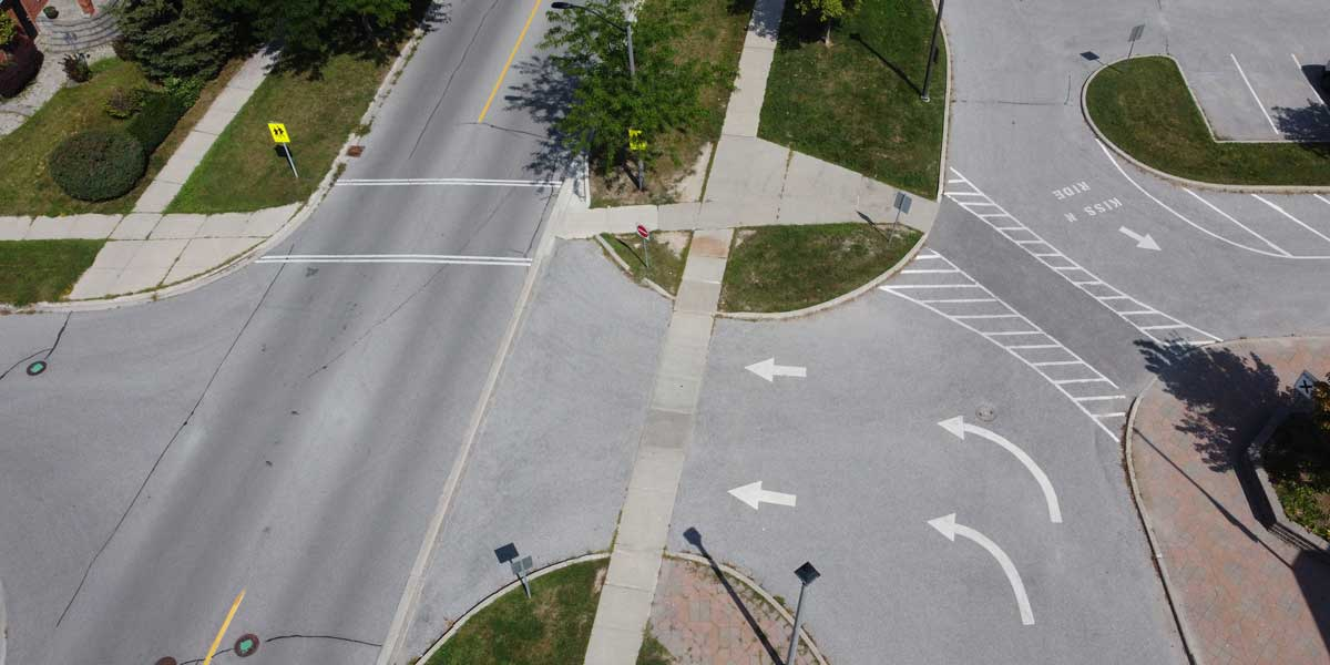 Overhead shot of a road with a crosswalk