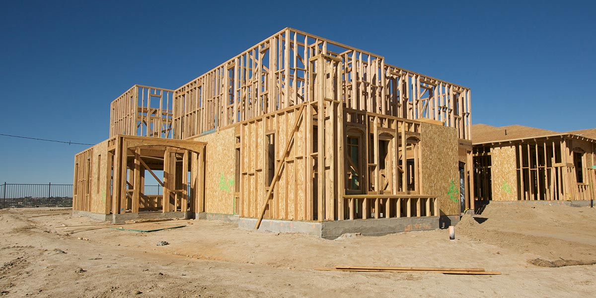 House frame on a building lot
