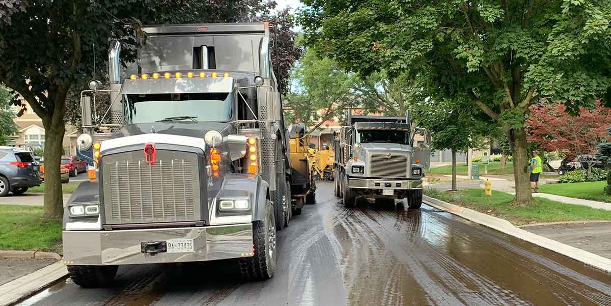 Road work with large trucks