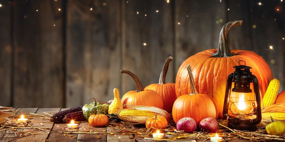 Leaves, lights and pumpkins
