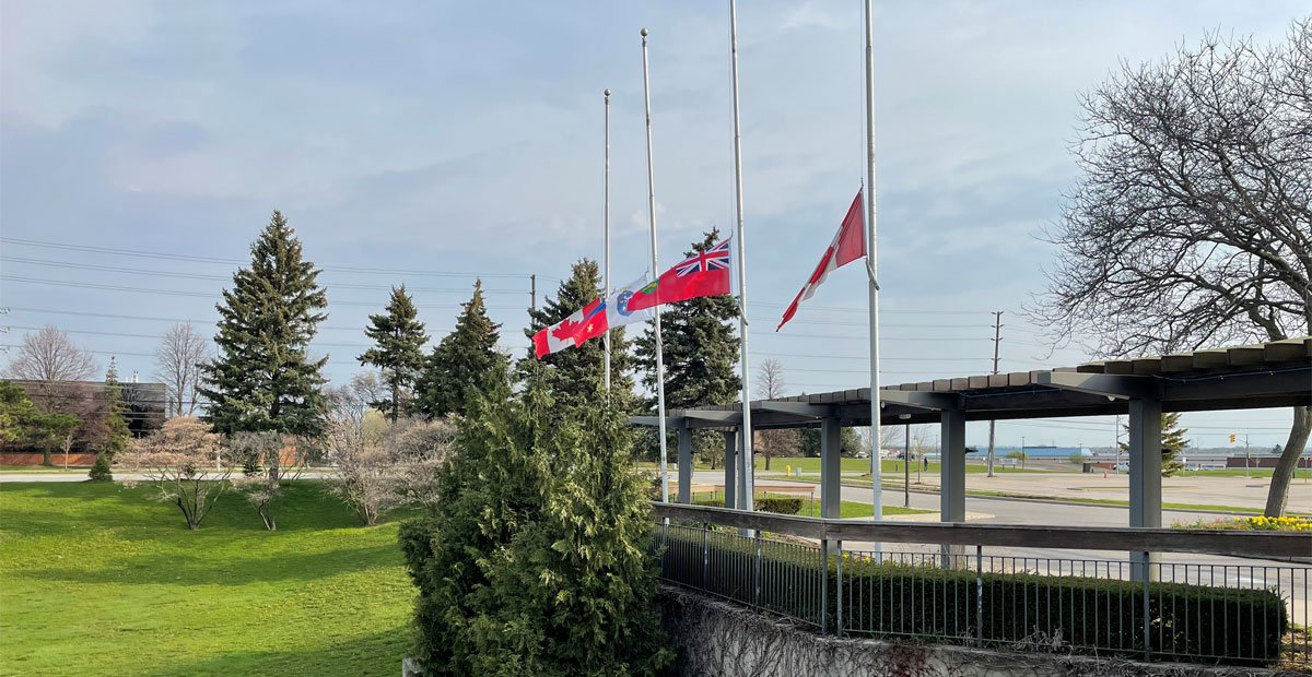 Flag lowering at Town Hall